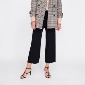 Zara Knitwear Collection Black Ribbed Culottes